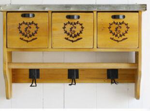 现货 Bao ZAKKA古木 铁皮盖 烧花印 3抽屉 3挂钩 壁挂收纳柜,收纳柜,