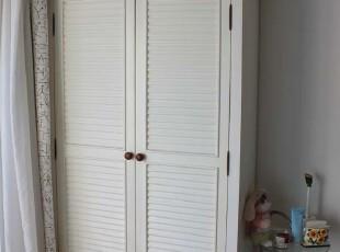 地中海风格 实木衣柜 百叶柜 整体两门衣柜,收纳柜,