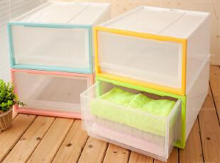 半透明全新塑料单层叠加式抽屉组合柜/收纳柜/杂物柜/衣柜/整理柜,收纳柜,