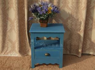 特价可订做 地中海蓝色床头柜 美式乡村书架 实木储物柜 做旧家具,收纳柜,