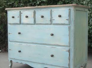 最新开发的出口型路易十五风格的乡村水洗蓝色六斗柜,收纳柜,