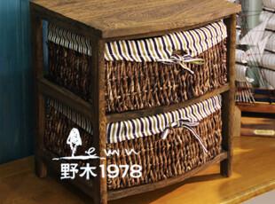 田园风格 二抽布艺 环保床头柜 收纳柜 柳编柜子【3-5天发】,收纳柜,