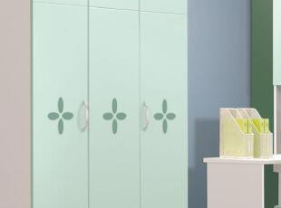 熠辉家具宝贝乐园9955儿童套房青绿色儿童 1.2米三门衣柜 收纳柜,收纳柜,