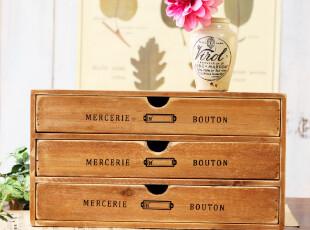 笨拙小匠日式新款zakka木质复古做旧 桌面收纳柜 文件柜 杂物柜,收纳柜,