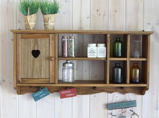 现货!田园原木做旧心形吊柜/实木壁挂展示柜 原木色挂柜,收纳柜,