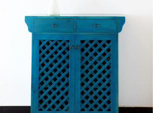 手工实木定制 地中海 擦蓝色 两开门 鞋柜 松木,收纳柜,