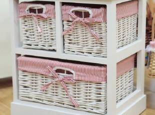 三抽床头柜 草编柜 地柜 杂物柜 实木 柳条抽屉 衬里 手工QDD001,收纳柜,