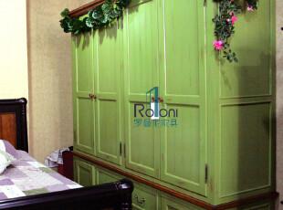 欧式田园★实木家具★美式乡村★地中海风格★绿色仿旧四门衣柜,收纳柜,