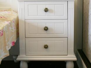手工实木定制 韩式田园 白色 三抽屉 床头柜 松木,收纳柜,