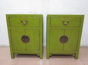 新中式古典家具 简约明清 仿古实木 全榆木床头柜 小鞋柜 翡翠绿,收纳柜,