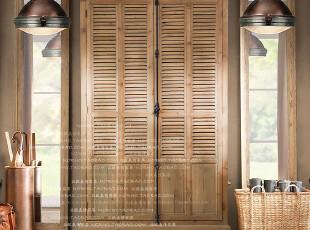 帕古达经典咖啡实木家具/美法式乡村农庄/老杉木铁艺落地衣柜,收纳柜,