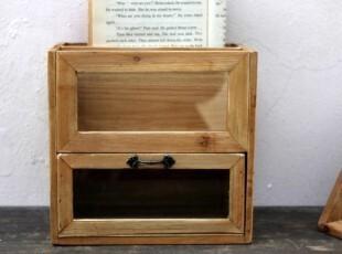 日單 zakka 復古玻璃收納柜 雜物收納木櫃,收纳柜,
