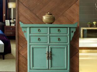 新中式实木仿古家具/做旧小展柜/风水玄关柜/蒸蒸日上7折预售特价,收纳柜,
