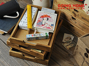 zakka 杂货 复古 做旧 文具收纳 木制托盘 文具柜 45元一个,收纳柜,