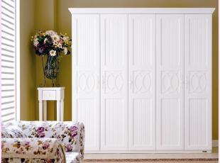 全友家私 正品 五门衣柜81706 田纳西系列家居 田园 白色简约衣橱,收纳柜,
