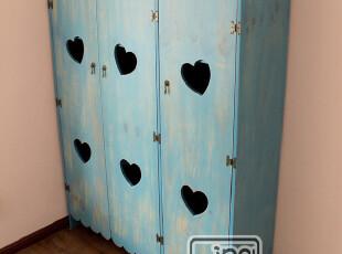 地中海/美式乡村实木衣柜/三开门衣柜美克美家实木家具心形衣柜,收纳柜,