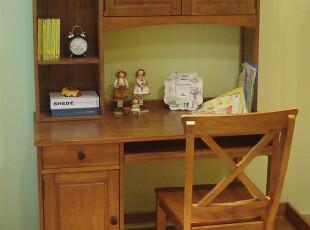 榆木疙瘩 全实木 简欧风格 连体书桌柜(不含椅)  黑白原木3色,收纳柜,