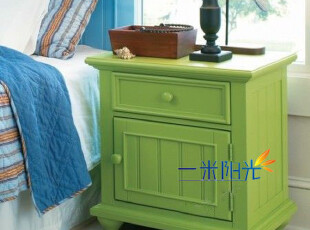 欧式田园★实木家具★美式乡村★地中海风格★绿色床头柜,收纳柜,