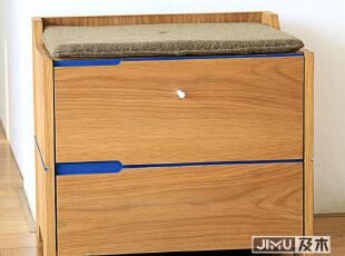 JIMU及木家具 现代简约时尚门厅系列实木皮鞋柜凳XG002,收纳柜,