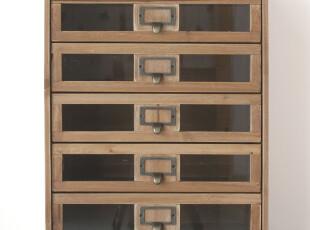 zakka桌面实木复古抽屉文件柜 办公储物矮柜 A4纸多层收纳箱 包邮,收纳柜,