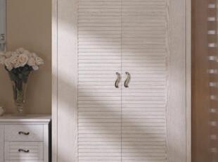 地中海家具 田园风格 水曲柳 实木衣橱 仿古白 开放漆 二门衣柜,收纳柜,