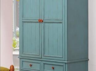 特价可定制 美式乡村衣柜 地中海做旧衣橱  实木家具,收纳柜,