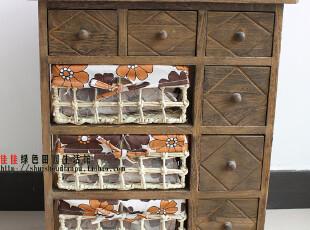 韩式田园收纳柜 床头柜 烤色储物柜子 布艺藤编斗柜,收纳柜,