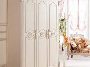 欧式衣柜 白色田园衣柜 实木衣柜三门衣柜 韩式衣柜 衣橱910A,收纳柜,