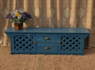 特价可订做 美式乡村电视柜 地中海蓝色视听柜 欧式全实木家具,收纳柜,
