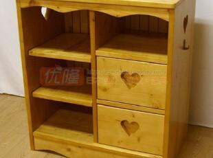 日韩 北欧松木柜 心型 可爱矮柜 书柜 储物柜 书架 柜子,收纳柜,