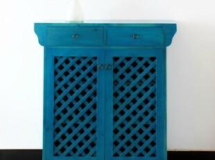美式乡村鞋柜 地中海蓝色做旧鞋架 实木角柜 定制家具,收纳柜,
