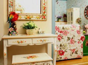 千棵树 手绘家具 复古优雅 手绘描金玫瑰花台 玄关台,收纳柜,