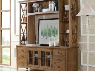 品睐居 简约欧式田园地中海风格 实木家具套装 简欧组合电视柜,收纳柜,