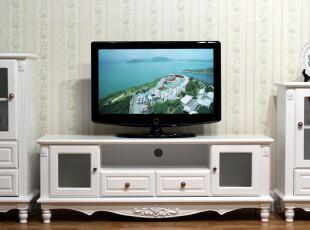 田园 白色地柜 纯白实木 电视柜 视听柜 现代简约 储物柜 2071,收纳柜,