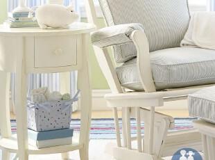 艾伦艾妮 文森特边桌 床头柜 床头凳 实木家具 美式儿童套房,收纳柜,