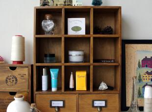 知暖阁 ZAKKA风格 九格双抽屉铜拉手小木柜 储物柜 收纳柜 特价,收纳柜,