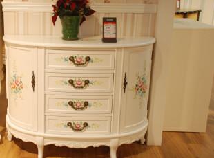 塞娜玫瑰 玄关柜 边柜 边桌 象牙白色手绘客厅欧式客厅实木家具,收纳柜,