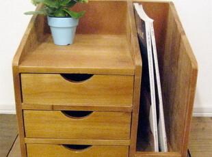 集美 日式Zakka杂货 原木带抽屉文件柜 收纳柜 书柜 储物柜,收纳柜,