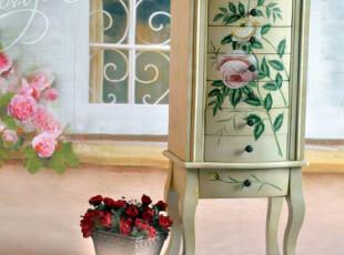 【鼎礼家居】欧美 手绘玫瑰仿古实木梳妆台 田园风格 MJJ2429,收纳柜,
