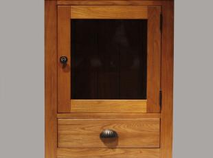 品睐居 简约欧式田园地中海风格 实木家具套装 矮装饰玻璃酒柜,收纳柜,