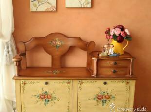 秒杀【7.9折】包邮 欧式蜜糖色手绘换鞋凳 储物田园鞋柜玄关柜,收纳柜,