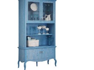 地中海风格 田园家具 餐边柜 开放漆 水曲柳实木 酒柜 蓝色碗碟柜,收纳柜,