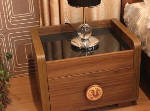 家具精品馆 宜家北欧 胡桃色实木 卧室家具 储物柜 床头柜 61320,收纳柜,