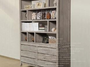 北欧表情美式乡村/帕古达经典咖啡实木家具/回收木双层书架内衣柜,收纳柜,