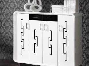 薇宝 黑白色时尚鞋柜 现代简约玄关柜 钢琴烤漆多层超大储物鞋柜,收纳柜,