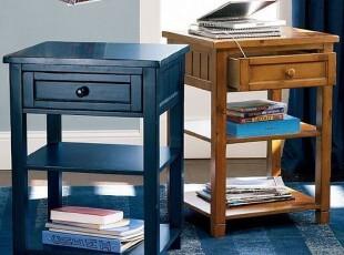 周周家居--美式乡村风格100%全实木床床头柜CTG0025,收纳柜,