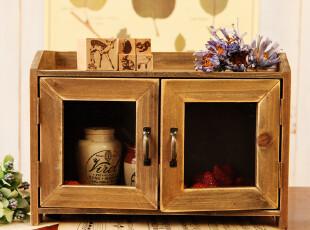 笨拙小匠日式zakka杂货复古木质做旧玻璃门收纳柜 整理柜 杂物柜,收纳柜,