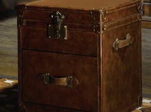 美式仿古复古皮毛箱 外贸原单 harbor house 暖庭牛皮箱 边柜边几,收纳柜,