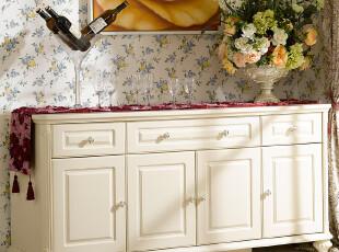 诗雅轩 欧式家具 描金实木餐边柜 碗柜 白色田园橱柜 备餐柜 R131,收纳柜,