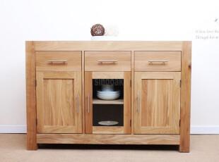 外贸原单欧式简约斗柜非柞木碗柜纯实木宜家具展示柜白橡木餐边柜,收纳柜,